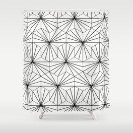 Hexagonal Pattern - White Concrete Shower Curtain