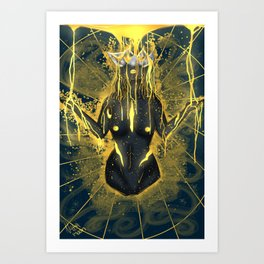 Pouring in gold. Art Print