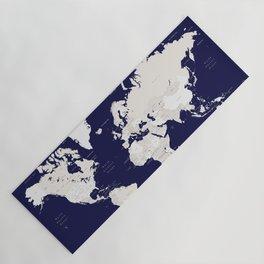 "Navy blue and cream world map, ""Austin"" Yoga Mat"