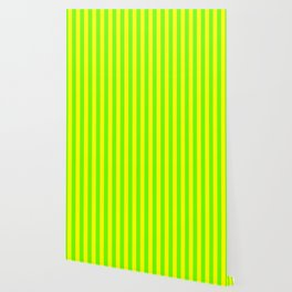Super Bright Neon Yellow and Green Vertical Beach Hut Stripes Wallpaper