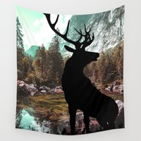 antlers Wall Tapestries featuring Antlers by Chetna Shetty