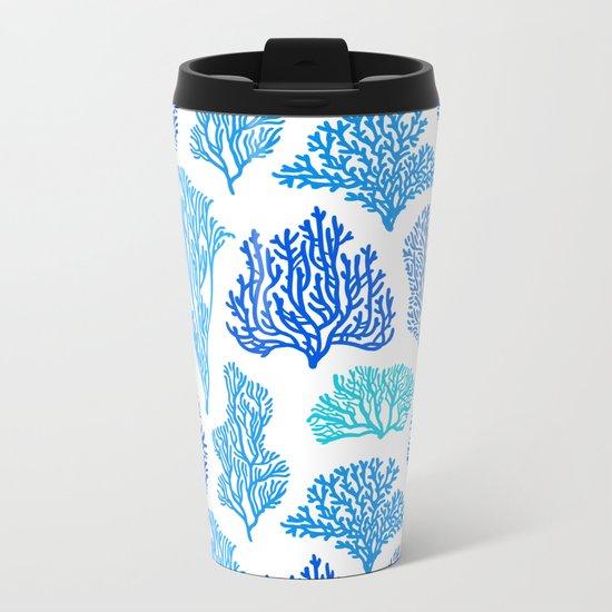 Coral Mania Pattern (blue) Metal Travel Mug