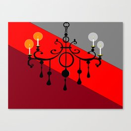A Chandler with Candles and Red, Maroon and Gray Canvas Print