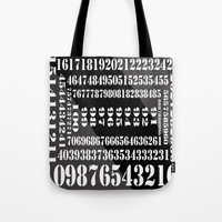 numbers Tote Bags featuring NUMBERS by Patrick D. Ottinger