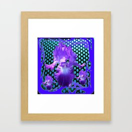 PURPLE ART NOUVEAU PURPLE IRIS ABSTRACT BLUE ART Framed Art Print
