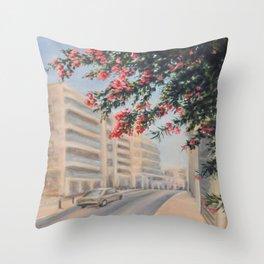 Eilat street Tel aviv_ Oil on canvas Throw Pillow