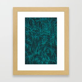 Swirl in Blue, Turquoise and Black Framed Art Print