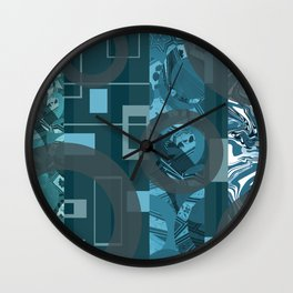 mixed rectangles stripes blue turquoise grey rings Wall Clock