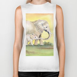Colorful Mom and Baby Elephant 2 Biker Tank