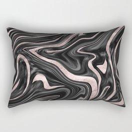 Black Gray White Rose Gold Marble #1 #decor #art #society6 Rectangular Pillow
