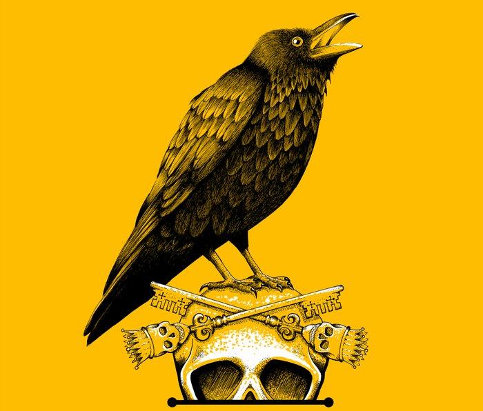 Black Crow, Skull and Cross Keys Metal Travel Mug