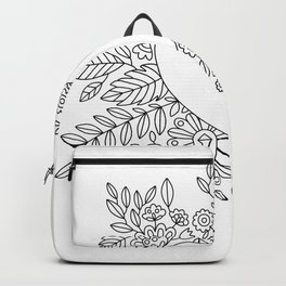 Flourishing Heart Adult Coloring Illustration, Heart and Flowers Wreath Backpack