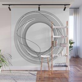 Tangled Black Circles on White pattern design Wall Mural