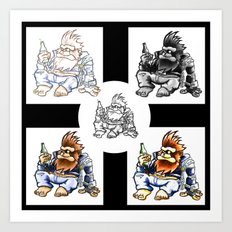 Drunk Biker Monkey Art Print