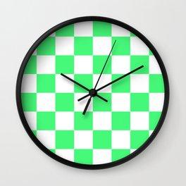 Cheerful Green Checkerboard Pattern Wall Clock