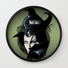 Maleficient and the crows Wall Clock