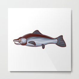 A Fish on Its Side With Mouth Open Metal Print