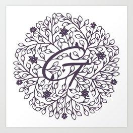 G - monogrammed initial G print Art Print