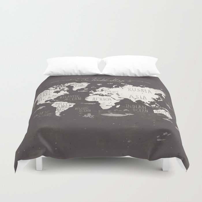 The world map duvet cover by mikekoubou society6 the world map duvet cover gumiabroncs Gallery