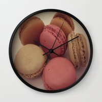 macaroon Wall Clocks featuring macaroon by  Alexia Miles photography