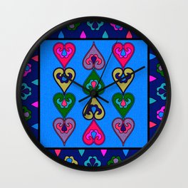 Colorful Ethnic Indian Valentines Wall Clock