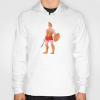 gladiator Hoodies featuring gladiator roman centurion warrior standing by retrovectors