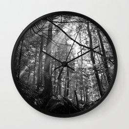 Sunrays Through the Trees Wall Clock