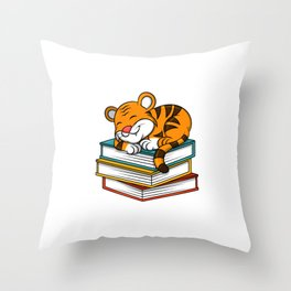 Cute Sleeping Lion On Books Christmas Kids Gift Throw Pillow