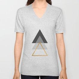 Triangles art, Black, white and gold Unisex V-Neck
