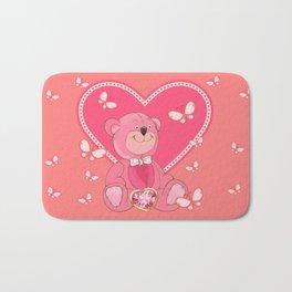 Teddy Bear and Butterflies Bath Mat