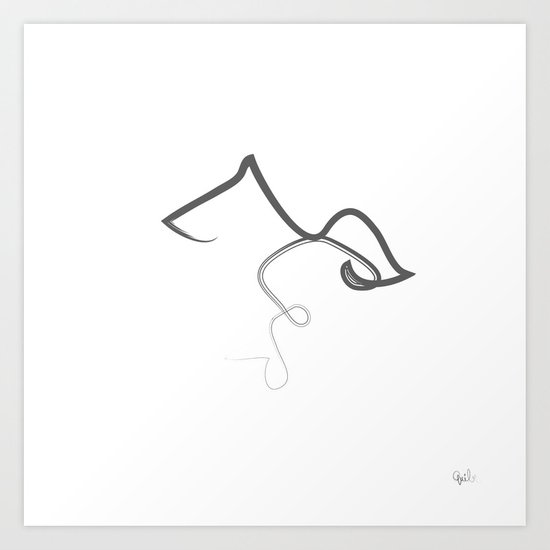 One Line Drawing Quibe : One line kiss art print by quibe society