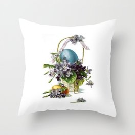 Vintage Easter Basket Throw Pillow