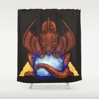 smaug Shower Curtains featuring Smaug by YattaGiulia
