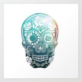 Mexican Skull / teal Art Print