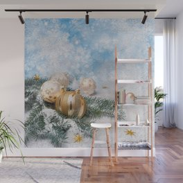 Gold Blue Ornaments Wall Mural