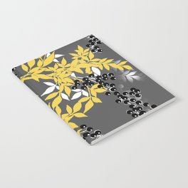 TREE BRANCHES YELLOW GRAY  AND BLACK LEAVES AND BERRIES Notebook