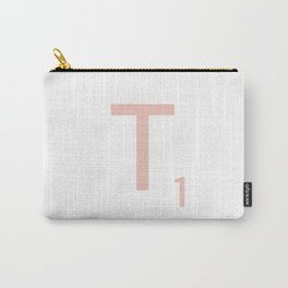 Pink Scrabble Letter T - Scrabble Tile Art and Accessories Carry-All Pouch