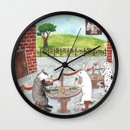 Owl and Merlot Wall Clock
