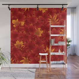 Seamless maple leaves pattern 002 Wall Mural
