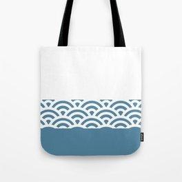 Rainbow Trim Pastel Blue Tote Bag