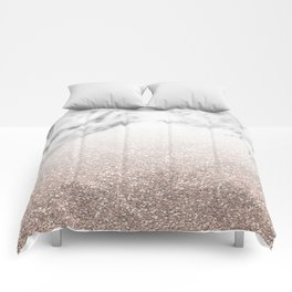 Marble sparkle rose gold Comforters