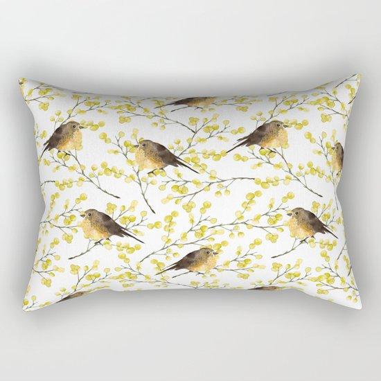 Mimosa and birds Rectangular Pillow