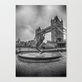 Girl with a Dolphin at Tower Bridge 2 Canvas Print