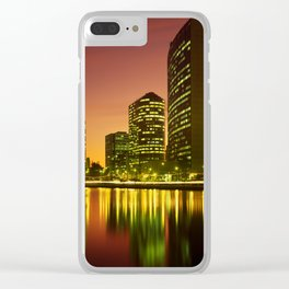 Lake Merritt and Downtown Oakland in Golden Sunset Clear iPhone Case