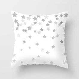 Falling Stars - Silver Marble Throw Pillow