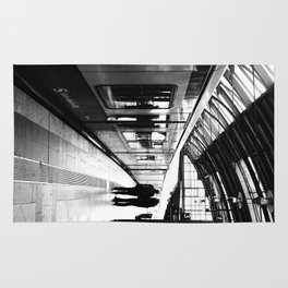 S-Bahn Berlin black and white photo Rug