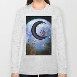 Beautiful fairy sitting on the moon Long Sleeve T-shirt