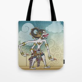 Modification of the puppet characters Hanuman white monkey in the story of the Ramayana Tote Bag