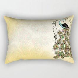 Vibrant Jungle Peacock Rectangular Pillow