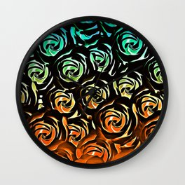 rose pattern texture abstract background in blue green orange Wall Clock